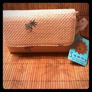 Sunny palm tree mirror cosmetic bag